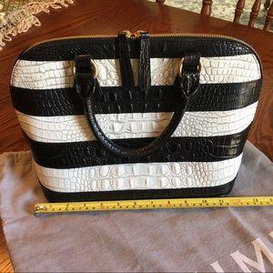 BRAHMIN EUC Black and White Crocodile Shoulder Bag
